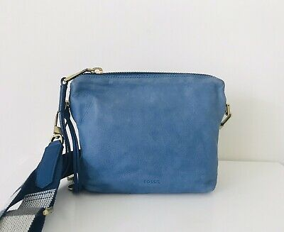$ CDN46.14 • Buy Fossil Blue Nubuck Leather Maya Cornflower Crossbody Handbag  With Guitar Strap