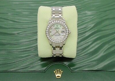 AU21490 • Buy Authentic Rolex DateJust Pearlmaster White Gold Diamond 2005 Papers Box 80299*