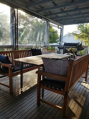 AU400 • Buy Timber Outdoor Dining Setting With 2 Beautiful Teak Bench Chairs - Will Seat 6