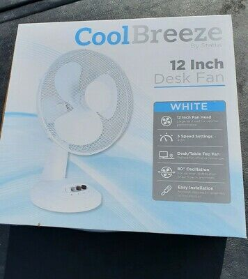 Desk Fan 12  WHITE • 12.99£