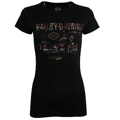 £7.99 • Buy Ladies Harley Davidson New Cycle Cotton Body Fit Black Tops T Shirts 160