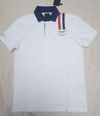 Hackett London Designer Polo Shirt Aston Martin Racing White Slim Fit S Rrp £95 • 52.95£