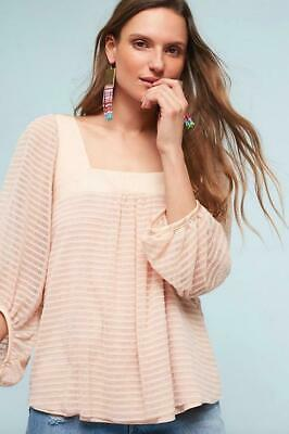$ CDN44.82 • Buy Anthropologie Meadow Rue Size XS Allyson Textured Top Peach Striped Stretch New