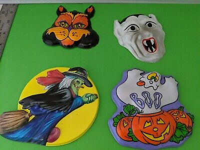 $ CDN34.34 • Buy Collectible Hard To Find 4 Vintage Halloween Plastic 3-D Molded Wall Decorations