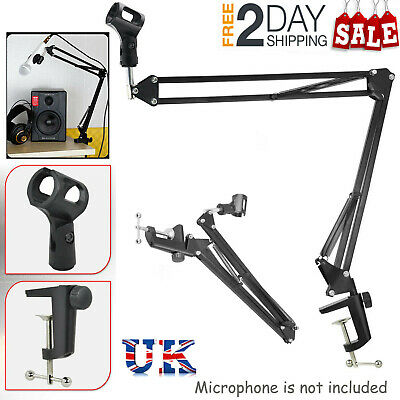 Mic Desktop Microphone Suspension Stand Studio Broadcast Boom Scissor Arm Holder • 8.69£