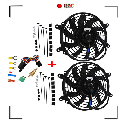 AU98 • Buy 2PCS 9 12V FANS+ MOUNTING PULL/ PUSH RADIATOR Cooling Electirc Thermo Fan+ Relay