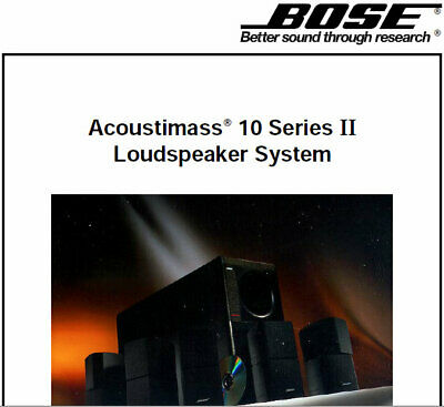Bose Acoustimass 10 Series Ii Service Manual Book En Home Theater Speaker System • 16.99£