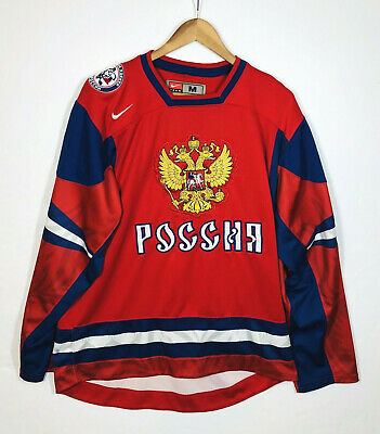 $92.99 • Buy Vintage Nike Team Russia IIHF Hockey Jersey Size Medium Red Eagle Crest Red Blue