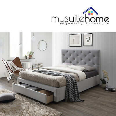AU289 • Buy Poppy Fabric Single/King Single/Double/Queen Size Bed Frame With Storage Drawer