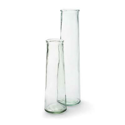 Clear Recycled Glass Roseanne Vase, Tall Rustic Flower Stem Bud Bottle - 2 Sizes • 9£