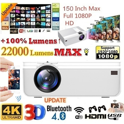 AU148.09 • Buy HD 1080P Bluetooth Projector Android WiFi 3D Video Theatre Home Cinema HDMI USB