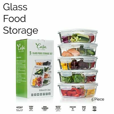 £15.95 • Buy 5 PC Set Glass Containers Food Kitchen Storage 31oz With Clip Lids Airtight