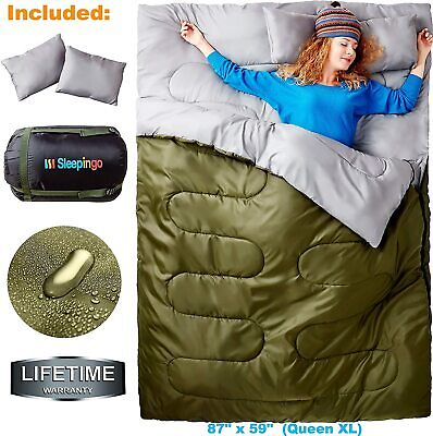 $89.99 • Buy Cold Weather Sleeping Bag F 0 Degree 2 Person Two Double For Adults Backpack NEW