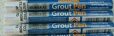 3x 7ml RONSEAL ONE COAT TILE GROUT PEN BRILLIANT WHITE WHITENER BATHROOM KITCHEN • 11.49£