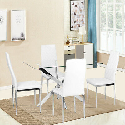 £59.95 • Buy Luxury White Dining Table Set & 6 PU Padded Chair Dinning Living Room Furnitures