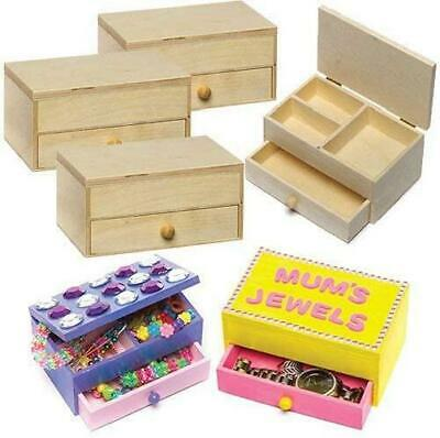 Baker Ross Wooden Jewellery Boxes Craft Project — Ideal For Kids' Arts And Cra • 7.99£