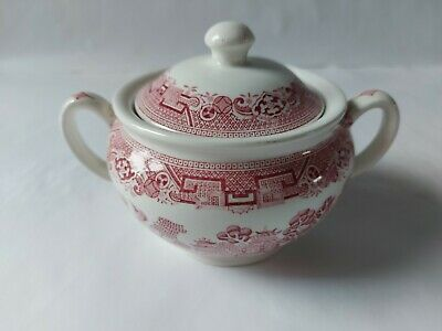 North Staffordshire Pottery Ridgway Willow Red/Pink Small Lidded Tureen C.1940 • 9.99£