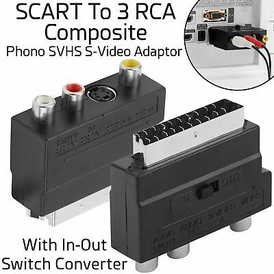 SCART To 3 RCA Composite Phono SVHS S-Video In Out Switch Converter Adapter UK • 1.99£
