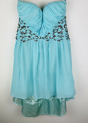Women's Little Misstress Sweetheart Strapless High Low Dress Blue UK 16 • 9.99£