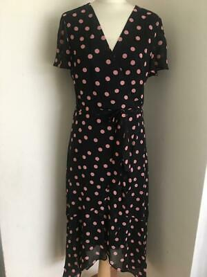 New Women's Wallis Black Polka Dot Print Wrap Midi Dress - RRP £45 • 17.99£