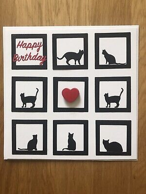 Pussy Cat Birthday Card Large  8x8 Home Crafted Card • 1.40£