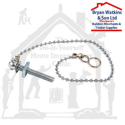 Ball Chain With Hooks And Sink Stay For Bath, Basin, 12  Or 18  Chrome Or Brass • 1.30£