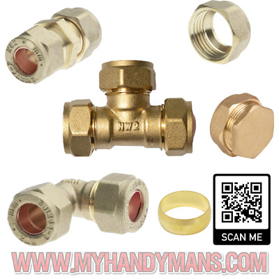 15mm Brass Compression Fittings For Copper Plumbing Pipe Hot & Cold Systems • 6.95£