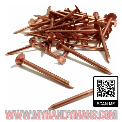25 Solid Copper Nails Clout Head Tree Stump Killer Roofing DIY 7 Sizes Available • 2.45£