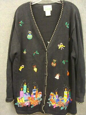 $1.99 • Buy Ugly Christmas Cardigan Sweater Women's Large By The Quacker Factory