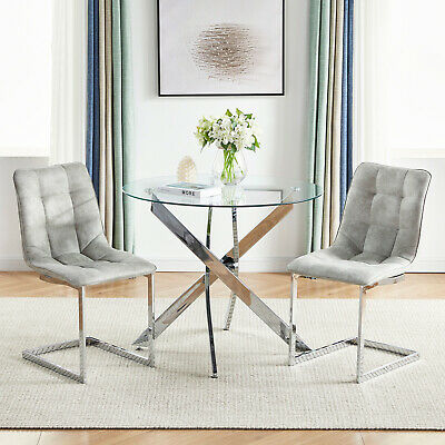 2 4 6 Modern Dining Chairs Microfiber Suede Fabric Padded Seat Chrome Leg Home • 189.98£