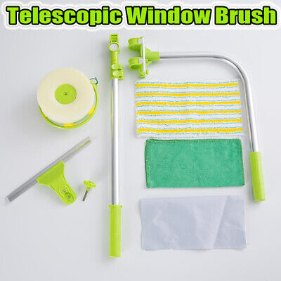 Telescopic High Rise Outside Window Glass Dust Cleaning Brush Squeegee U-type Uk • 22.34£