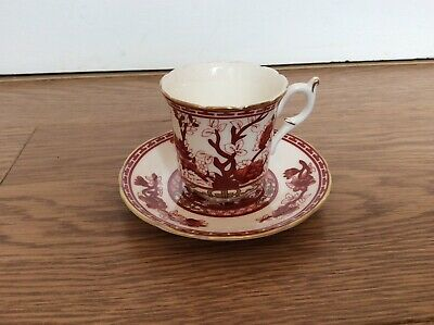 Crown Staffordshire Bone China Coffee Cup &  Saucer Red & White Flower • 5£