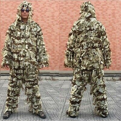 AU37.05 • Buy 3D Sniper Desert Camo Ghillie Suit Lightweight Camouflage Hunting Jacket&Pant