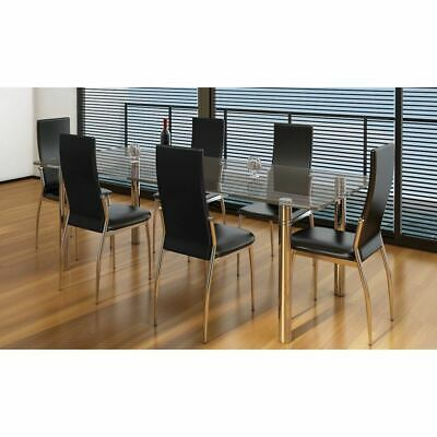 AU392.95 • Buy Set Of 6 Modern Dining Chairs Ergonomic Chrome Feet Faux Leather High Back Seat