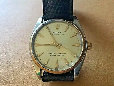 $ CDN1168.40 • Buy 1960?s Vintage Rolex Mens Champagne Dial Oyster Perpetual 1002 18k Gold /Steel