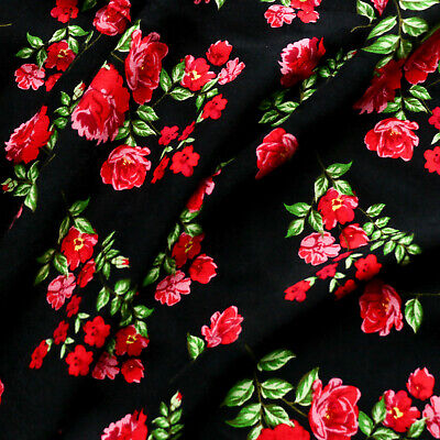 £7.80 • Buy Viscose Challis Fabric - Rose Flower - Red And Black - Dress Fabric - 58  Wide