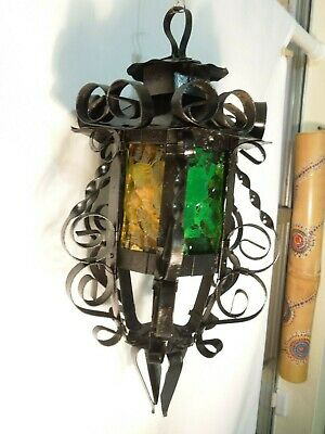 Ornate Wrought Iron Candle Lantern Amber & Green Glass Hanging Or Pole Mount • 30.80£