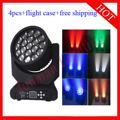 £917 • Buy 19*15W RGBW 4 In 1 Led Beam Wash Zoom Moving Head Stage Light 4pcs With Case