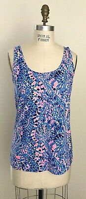 $35 • Buy Lilly Pulitzer Kinsey Tank Top Sleeveless Multi Tic Tac Tile Allover Sz L