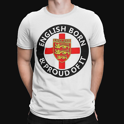 £4.99 • Buy English Born T-shirt & Proud Of It St Georges Day Flag Retro Printed TEE Crest