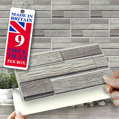 Self Adhesive Wall Tiles | Grey Shanty 8 X4  Stick On Wall Tiles | Brick Shape • 12.99£