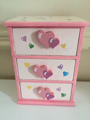 Pretty Jewellery Chest 3 Draw Pink With Hearts 💕 • 4.99£