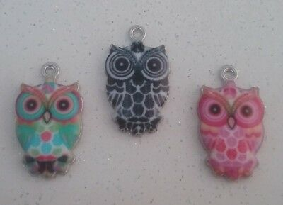 ❤ Shiny Enamel Owl Charms ❤ Pack Of 3 ❤ CRAFTING/JEWELLERY MAKING ❤ • 1.20£