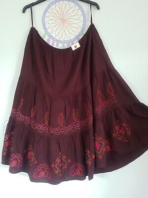 Ladies Ethnic Skirt Brown Pink Green ,Embroidered  Flared Size 18 Hippie Boho  • 7.99£