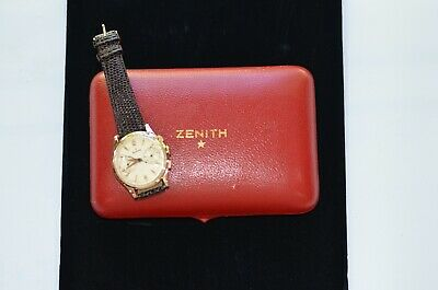 $1575 • Buy Vintage Zenith Chronograph Wrist Watch, 18k Cal. 156 Original Box & Papers, 38mm