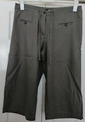 M&S Khaki Linen Blend Cropped Trousers Size 16 • 5£
