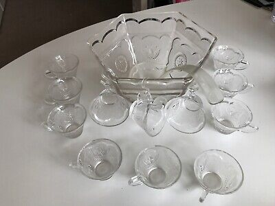 Vintage Glass Punch Bowl Set With 12 Cups, 3 Hooks And Ladle • 5£