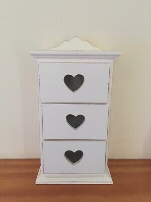 Pretty Jewellery Chest 3 Draw With Hearts 💕 • 4.99£