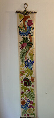"""Vintage Handmade NEEDLEPOINT BELL PULL Flowers And Fruit 58"""" Long Brass Ends • 71.68£"""