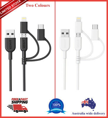 AU24.99 • Buy 3-In-1 Charger Charging Cable Cord, Micro Usb Charger Cable For Iphone, Samsung